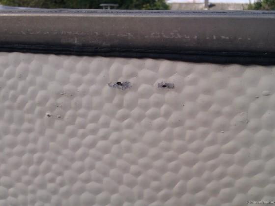Wohnwagenreparatur vor vielen Jahren: Schadstelle außen 2